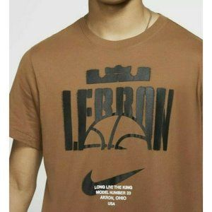 Nike Lebron James Tee Shirt Dri fit Brown Mens XL